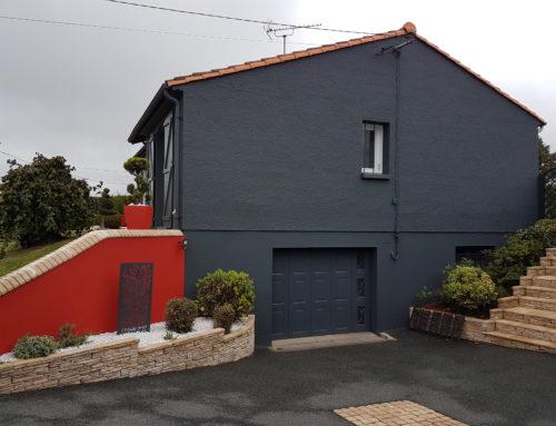 Peinture façade maison et muret